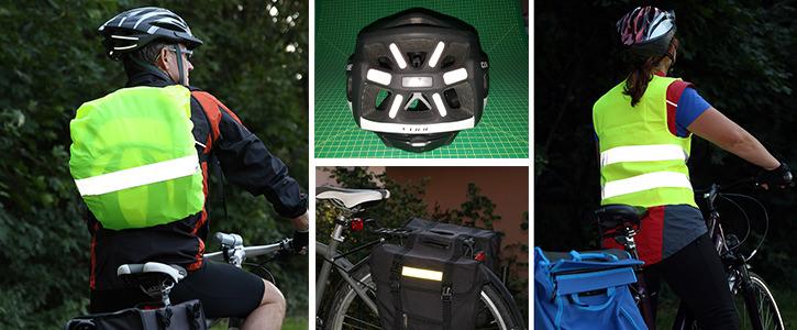 Reflektoren für Fahrradhelme und Warnwesten