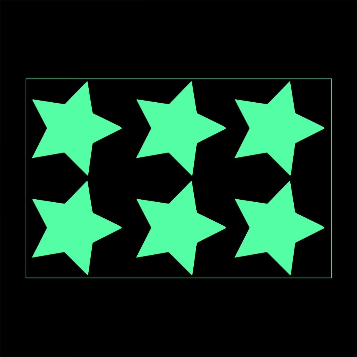 6 Leuchtsticker Sterne zum Aufkleben leuchten bei Dunkelheit in der Nacht