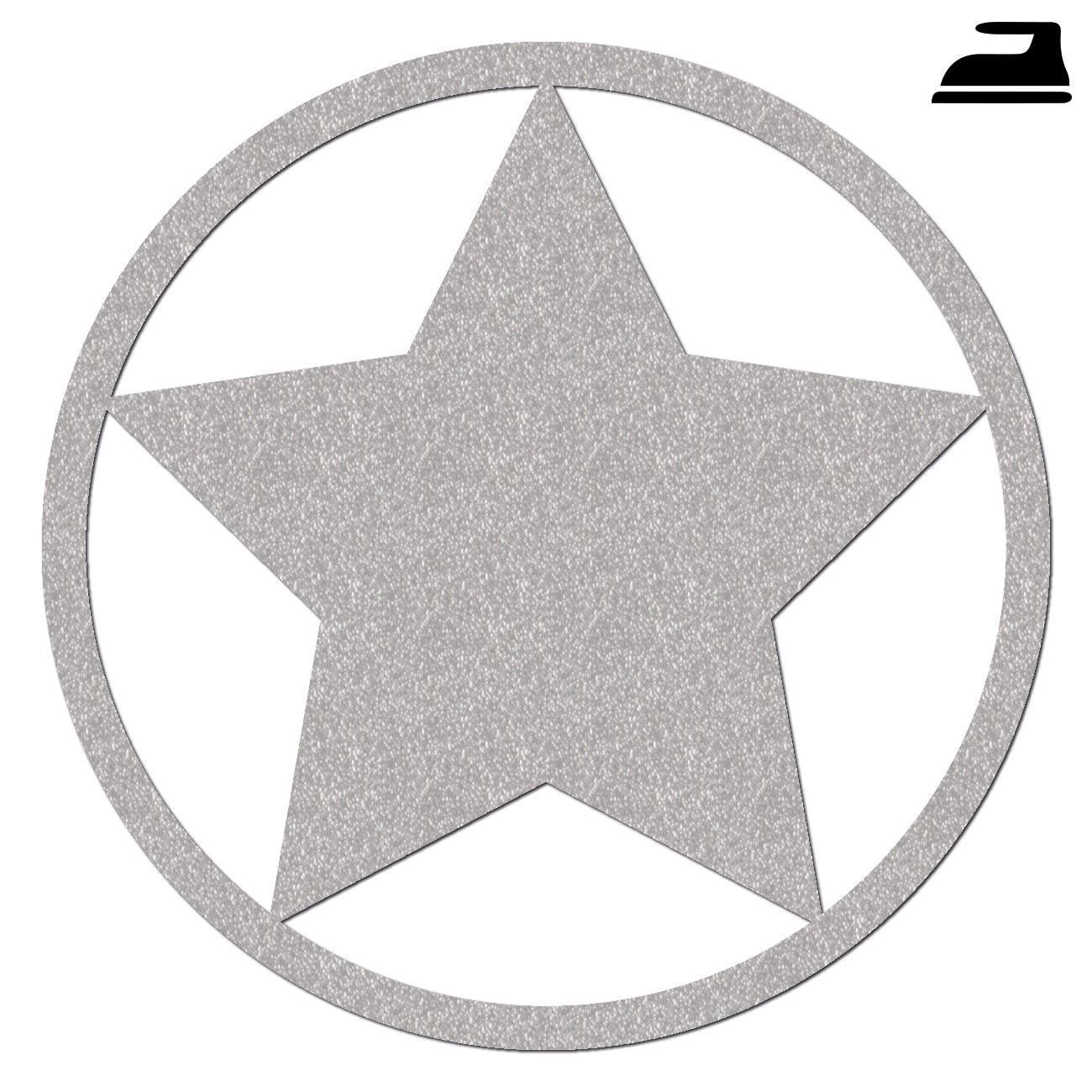 Reflektor Stern mit Kreis zum Aufbügeln