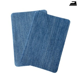 Bügelflicken Jeans hellblau